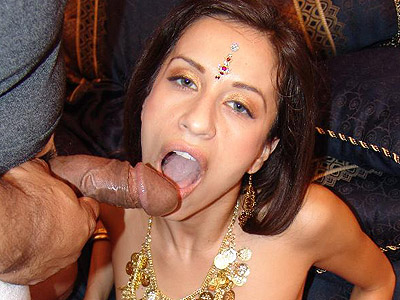 Hot babe Aruna gets her pussy stuffed with a huge cock before she sucks it off