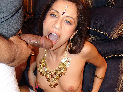 Gorgeous Indian Aruna bares it all to play with her cooze and gets three way cum hosing